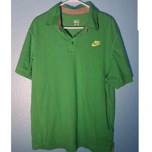Nike Polo XXL Green Collared Logo Button Shirt